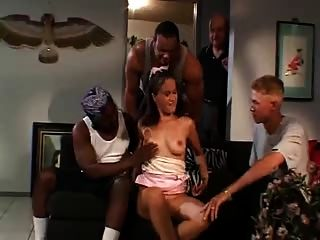 Brunette Is Fucked By Two Hard Black Cocks At Home