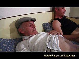 Papy And Fellow Fuck Same Whore