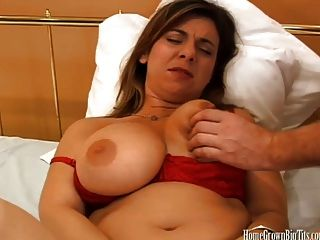 Jordan Takes Huge Load On Her Massive Melons