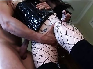 British Slut Sasha Gets Fucked In A Corset And Fishnets
