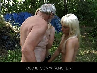 Blonde Teens Fucking The Old Wood Cutter