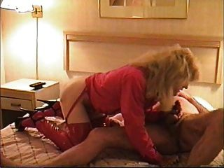 Hot Body And Perfect  Assed Crossdresser In Red Vinyl Loves Cock.