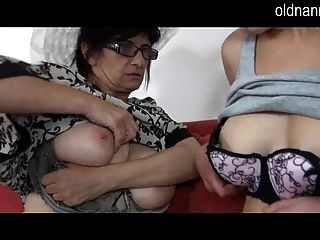 Hot Old Granny In Hat And Young Girl