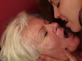 Hot Babe Visiting An Older Lesbian Mom