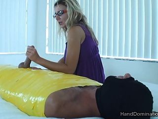 Femdom Handjob By Busty Blonde
