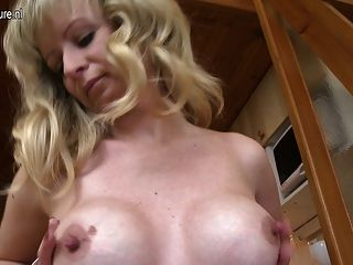 Hot Blonde Mother Getting Her Pussy Wet