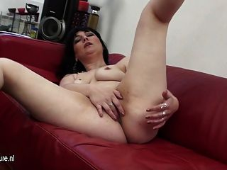 Real Mature Mother Masturbating On A Couch