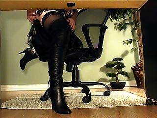 Secretary With Boots Under Desk Masturbation