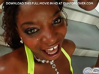 Black Teen Gets Four Bukkake Cumshots On Face