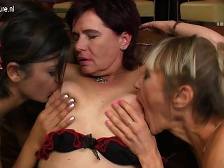 3 Old And Young Lesbians Fuck On The Couch