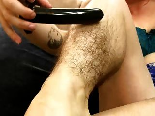 Sexy Hairy Pussy Babe,hairy Pits, Tits Rides Dildo Like Cock