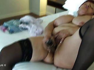 Big Mama Sure Loves Her Hard Dildo