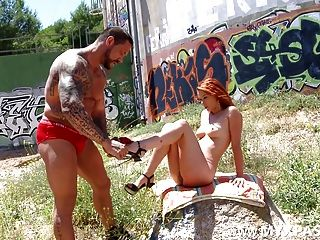 French Redhead Girl On Fire And The Gladiator!