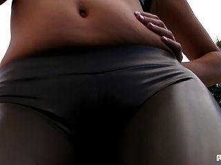 Sexy Ass And Camel Toe - Smoking Outdoors
