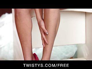 Twistys - Hot Brunette Shyla Jennings Strips & Rubs Herself