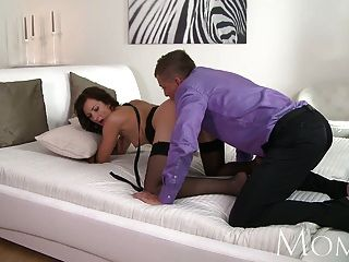 Mom Sexy Milf In Black Stockings Gets Her Pussy Pounded