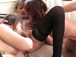Three Mature Sluts Sucking And Fucking One Guy