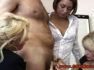 Cfnm Femdoms Suck After Tugging