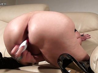 Hot Blonde Grandma Playing With Her Toy