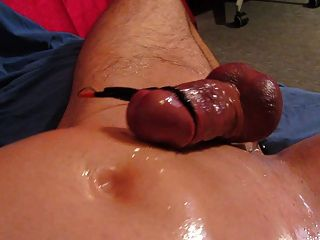 Huge Hands Free Cum Shot Oiled Cock Electro Stimulation