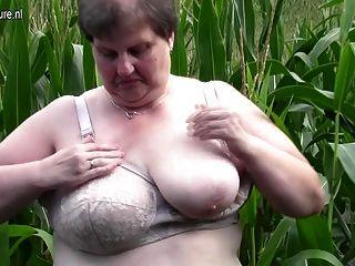 Old Fat Bbw Mother Fucks Herself Outdoor