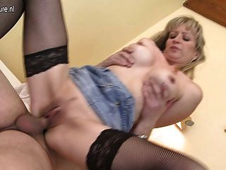 Horny Blonde Milf Fucking And Sucking