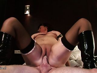 Old Slut Mom Rides A Cowboy In Amateur Vid