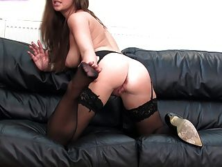Cate Harrington Talks Dirty Wearing Her Sexy Black Stockings