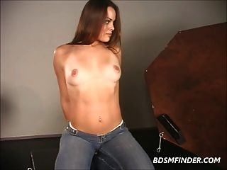 Long Haired Brunette Pussy Destruction