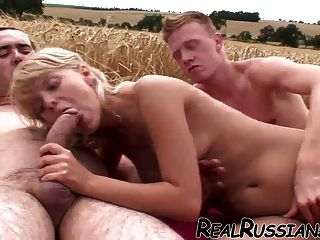 Russian Slut Gets Fucked Outdoor By Two !!