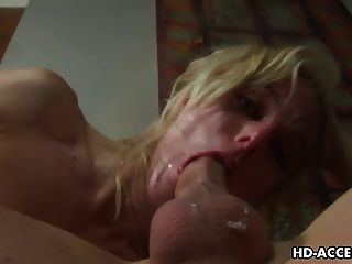 Blonde Whore Angela Stone Hardcore Sex With Thin Long Cock!