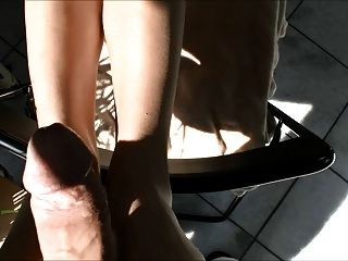 Hot Blonde Tan Hose Footjob