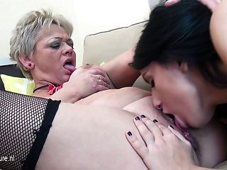 Naughty Old And Young Lesbians Go In Tongue Deep