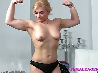 Femaleagent Blonde Body Building Beauty Masturbates For Sexy