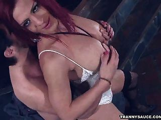 Redhead Tranny Triami Sucks Cock And Gets Fucked