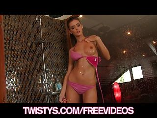 Skinny Bikini Clad Teen Strips In The Shower & Masturbates