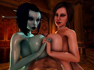 Soria And Trishka Double Tittyfuck (3d)