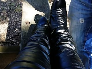 Cum On Boots In Public Park