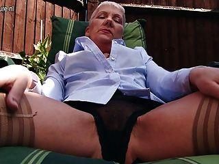 Naughty British Mature Lady Masturbating In Garden