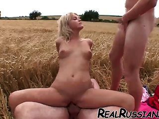 Russian Slut Enjoys Threesome Outdoor !!