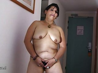 Old Hot Mother Playing With A Big Toy