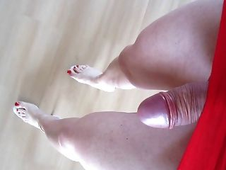 Walking In Red Skirt High Heels And Red Nails   No Cum