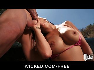 Bikini Clad Latina Eva Angelina Gets Fucked On The Hood Of H