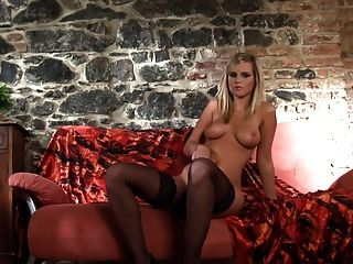 Hot Blonde In Stockings Panties And Stilettoes