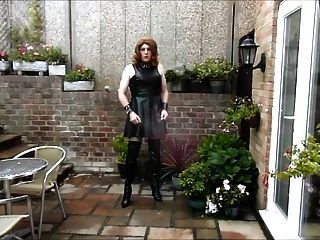 Aliosn Wanking In Pvc Dress And Thigh Boots