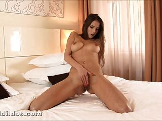 Skinny Chick Ramming A Big Red Brutal Dildo In Hd