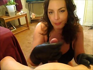 Smoking Leather Gloved Handjob