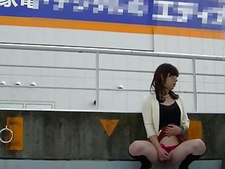 Japanese Crossdresser Outdoor Flashing.