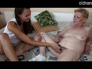 Old Oma And Young Woman Striptease And Toy Playing