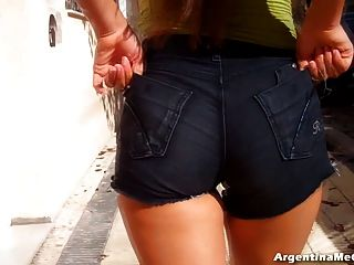 Big Hot Ass In Ultra Tight Short Jeans. Cameltoe, Ass N Tits